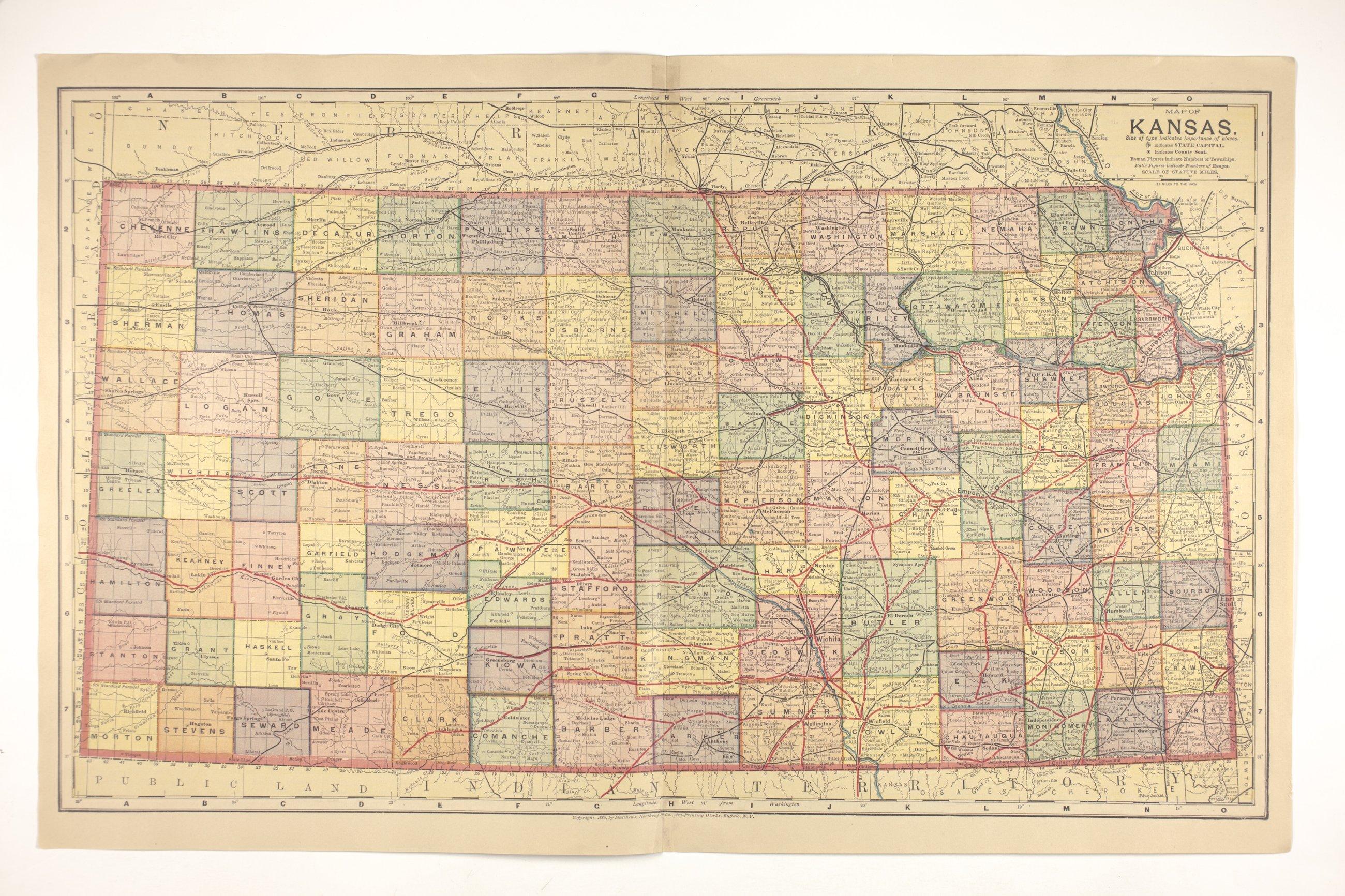 Atlas of the Santa Fe Route - Map of Kansas
