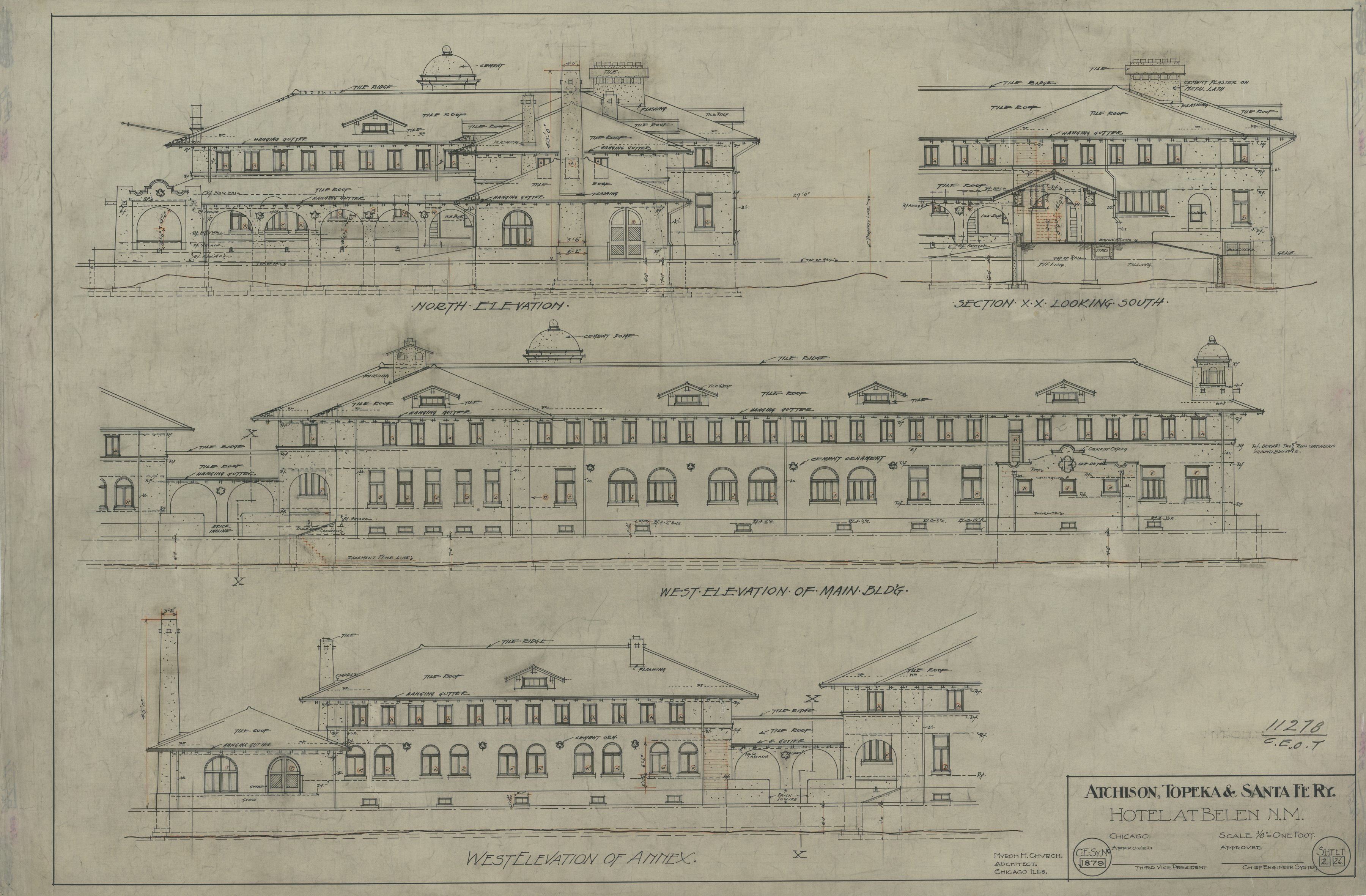 AT&SF Company hotel, Belen, New Mexico - North, West Elevation, Main Bldg. 1879
