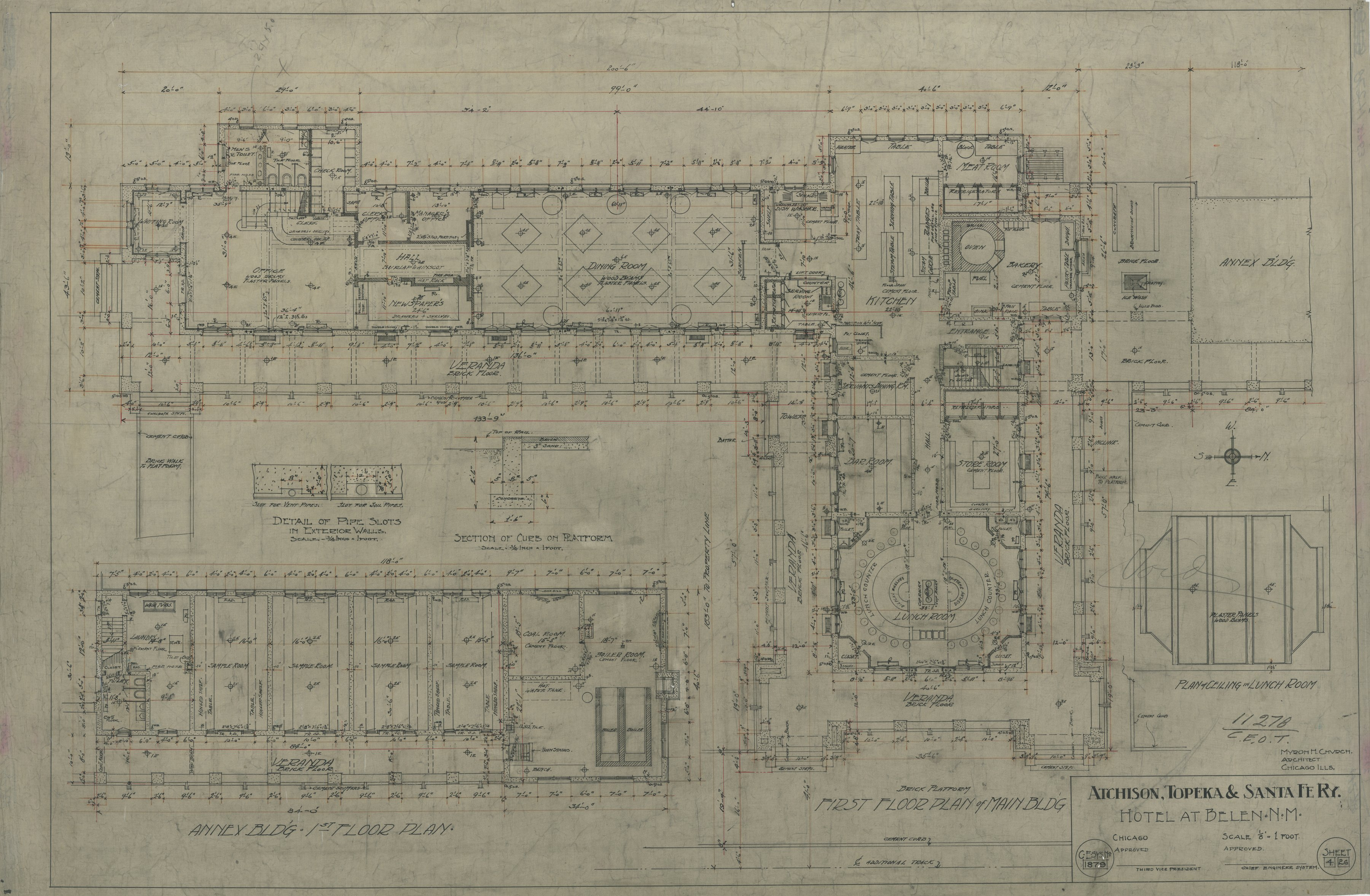AT&SF Company hotel, Belen, New Mexico - First Floor Plan Main Bldg, 1879