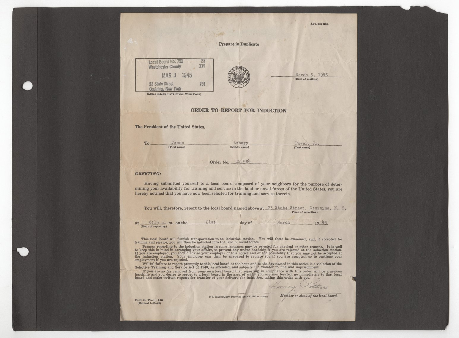 James Asbury Power, Jr.'s World War II photograph album - Order to Report for Induction letter