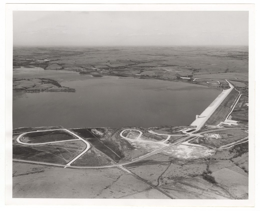 Aerial views of the Council Grove Dam and Reservoir - 1
