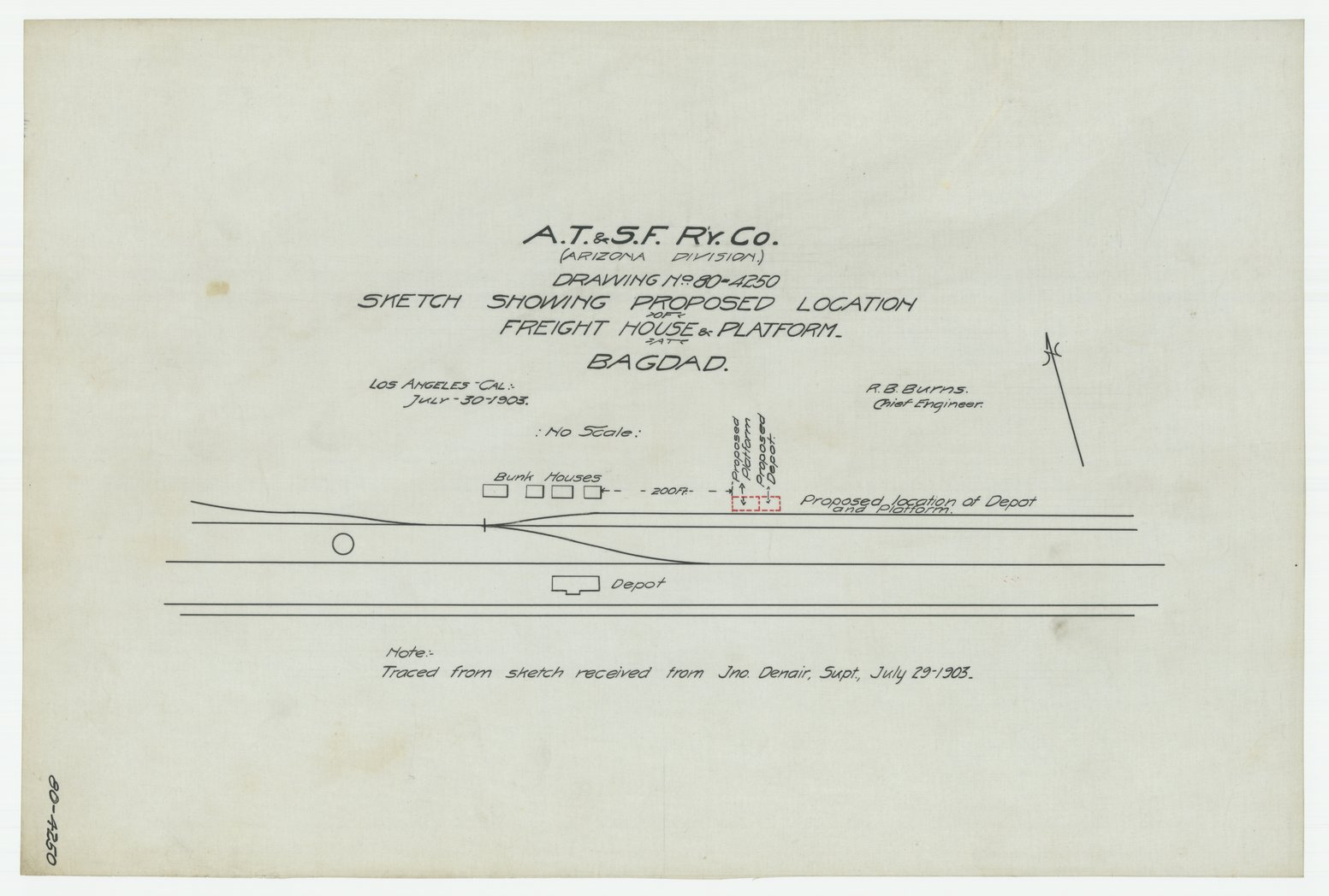 AT&SF proposed freight house & platform, Bagdad, California