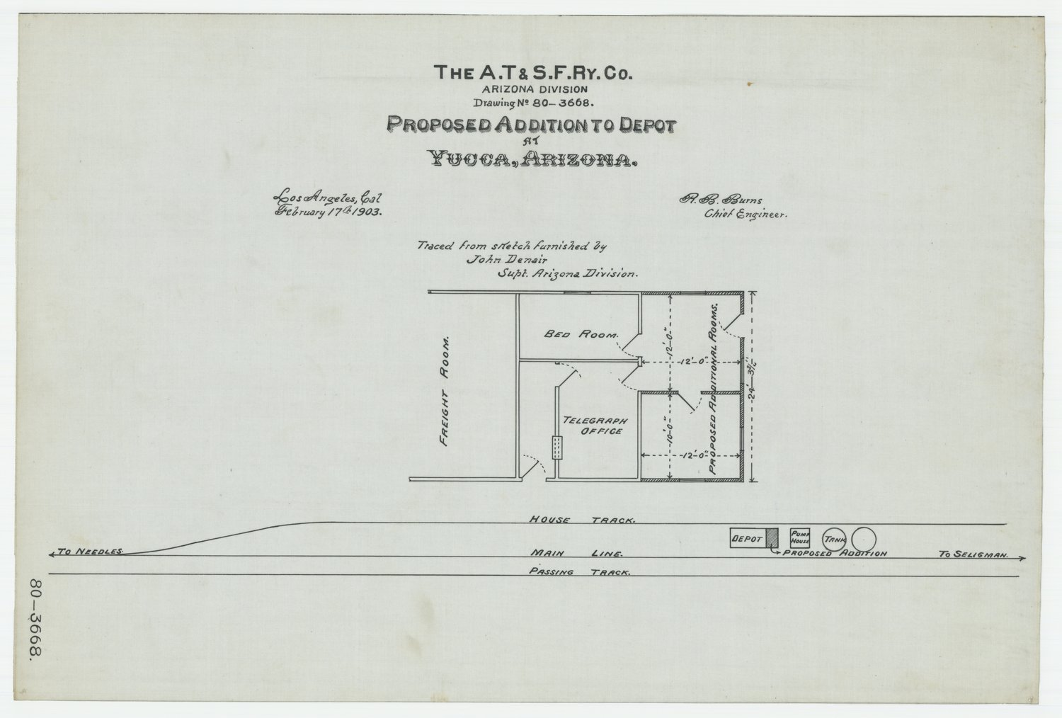 Proposed addition to depot at Yucca in Arizona Territory, AT&SF Ry Co., Arizona Division