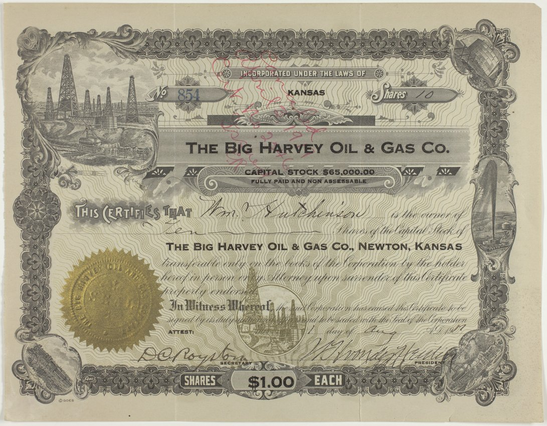 Big Harvey Oil and Gas Company stock certificate #854 - page 1