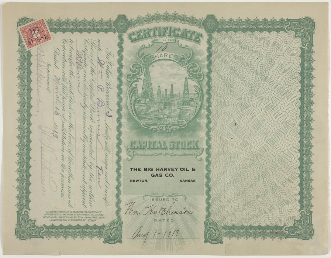 Big Harvey Oil and Gas Company stock certificate #854 - page 2