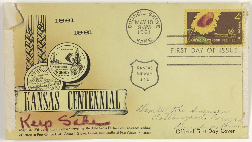 Kansas Centennial envelope with canceled stamp and note card - page 1