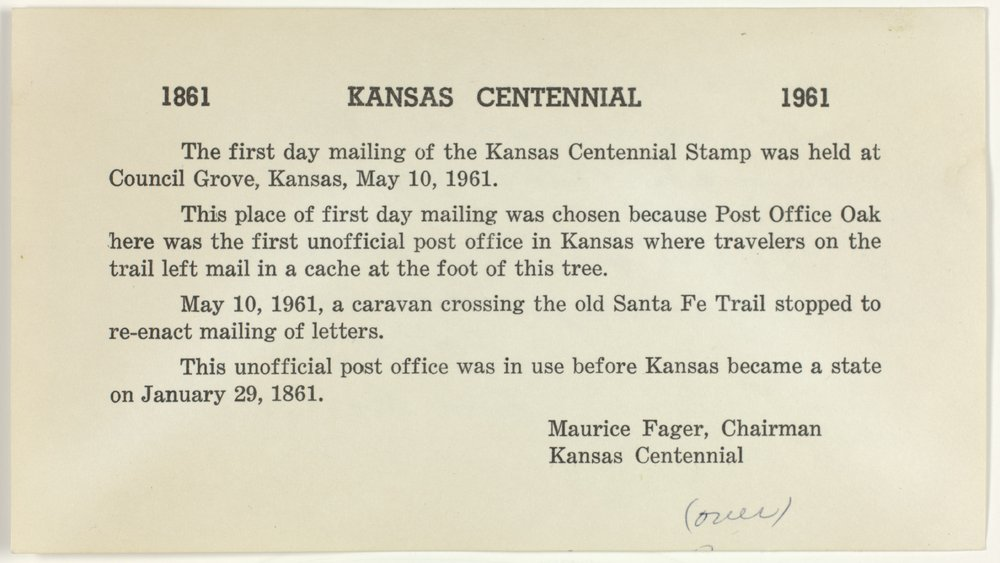 Kansas Centennial envelope with canceled stamp and note card - page 2