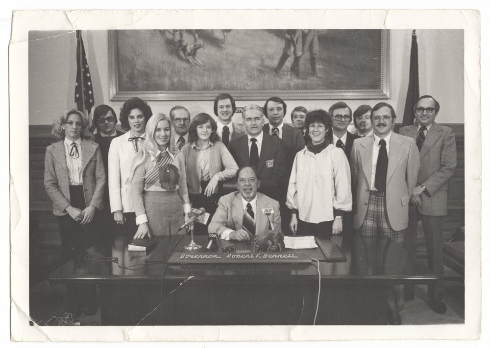 Topeka statehouse press corps with Governor Robert Bennett - 1