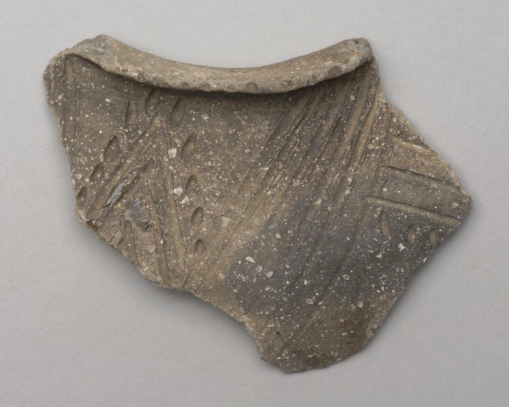 Decorated Ceramic Rim Sherd from the Wullschleger Site, 14MH301 - 1