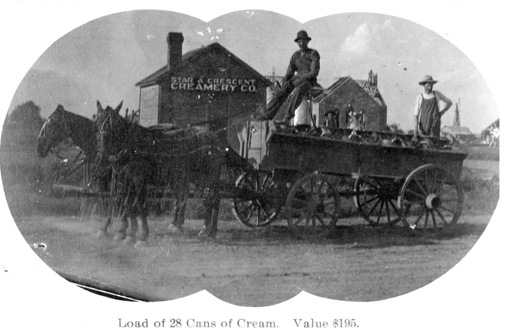 Delivery wagon at the Star & Crescent Creamery Company, Tribune, Greeley County, Kansas
