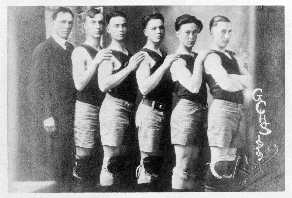 Boys basketball team, Greeley County High School, Tribune, Kansas