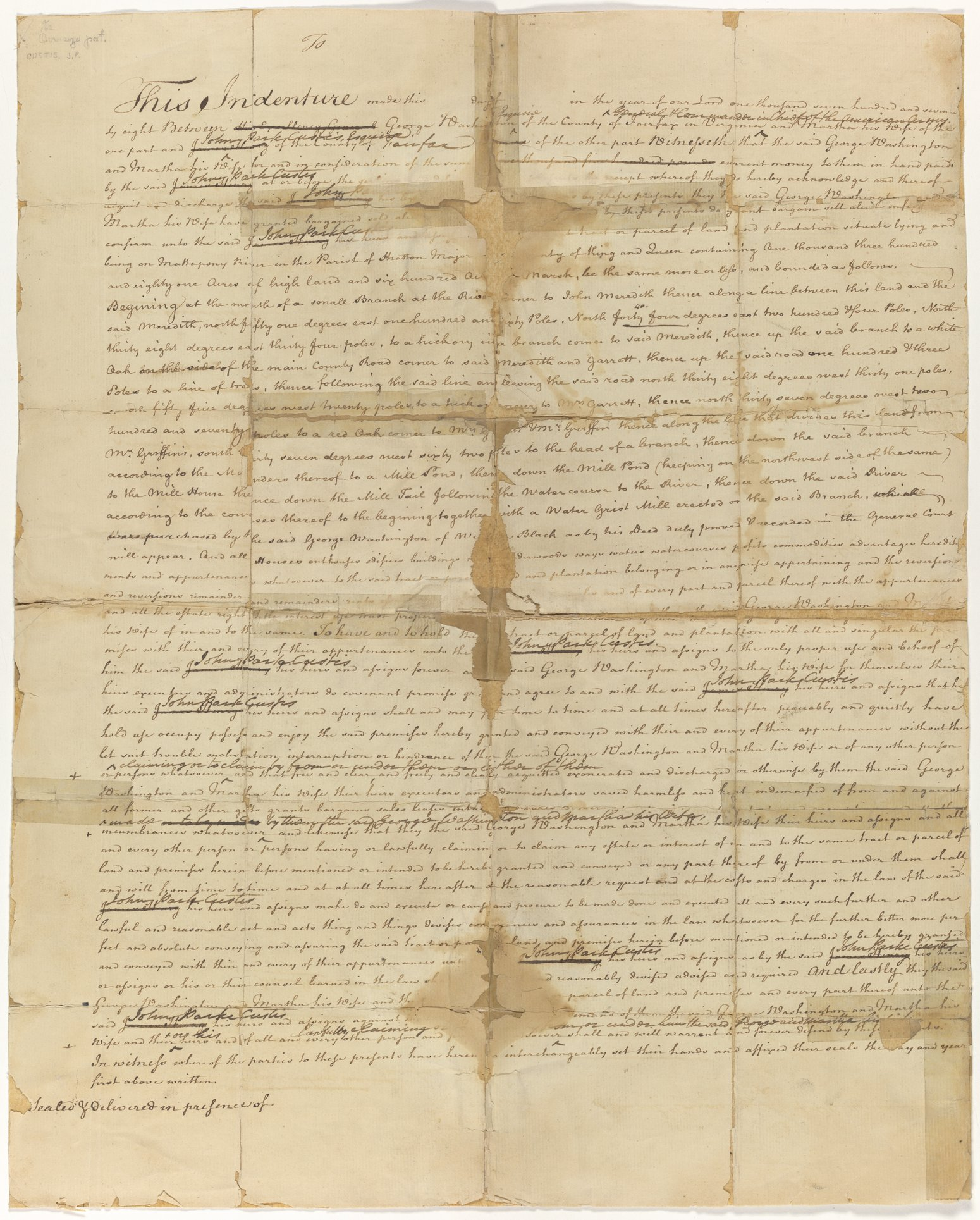 Deed with corrections from George and Martha Washington to John Parke Custis for land in Stratton Major Parish, King and Queen County, Virginia