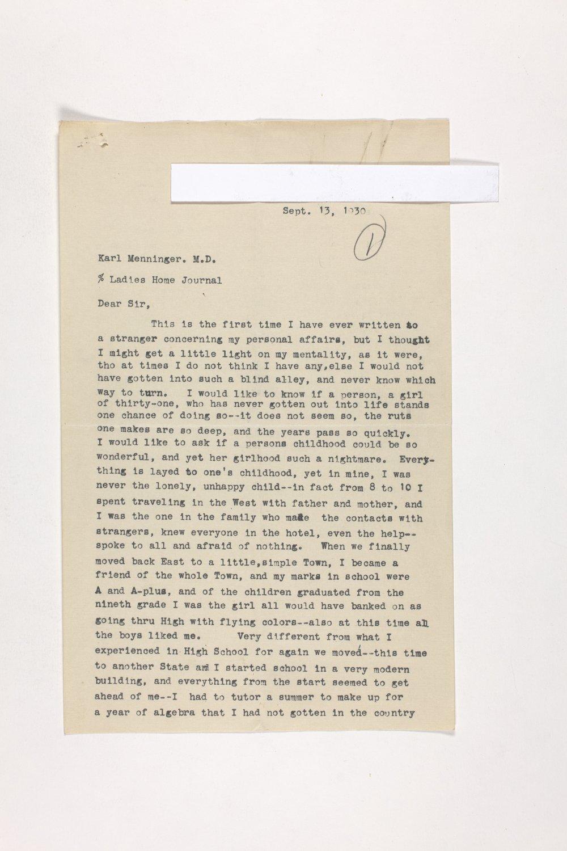 Dr. Karl Menninger Ladies Home Journal Letters 1-20 - 4
