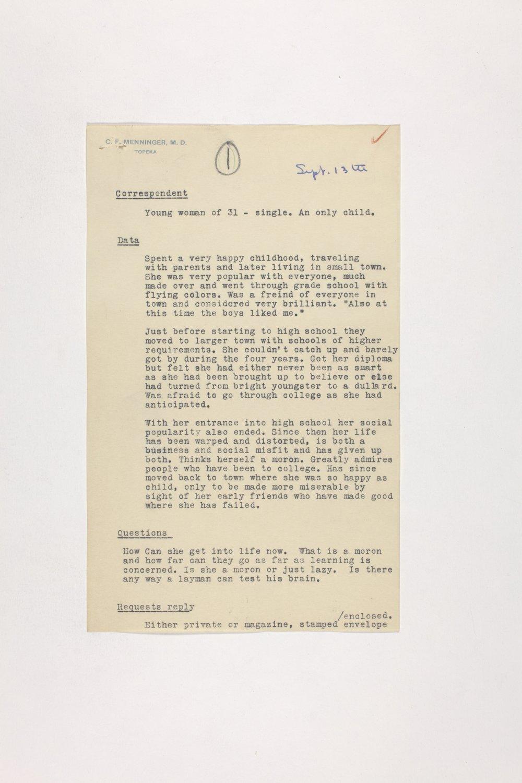 Dr. Karl Menninger Ladies Home Journal Letters 1-20 - 8