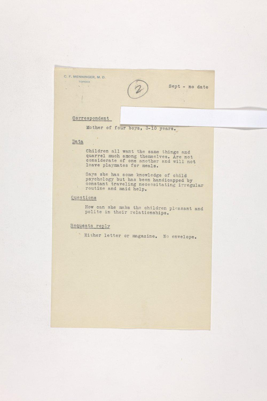 Dr. Karl Menninger Ladies Home Journal Letters 1-20 - 10