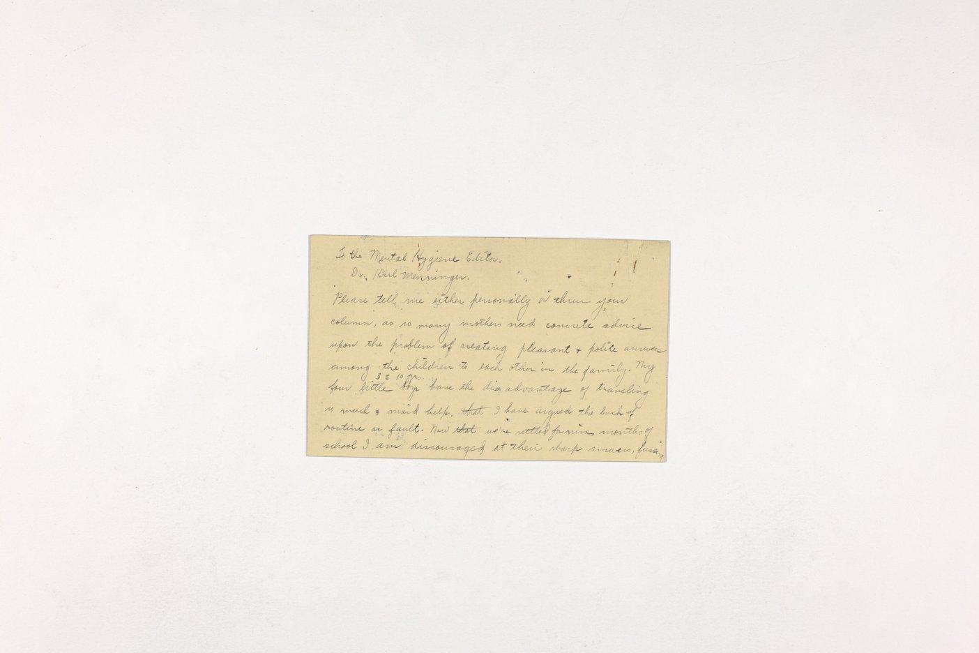 Dr. Karl Menninger Ladies Home Journal Letters 1-20 - 11