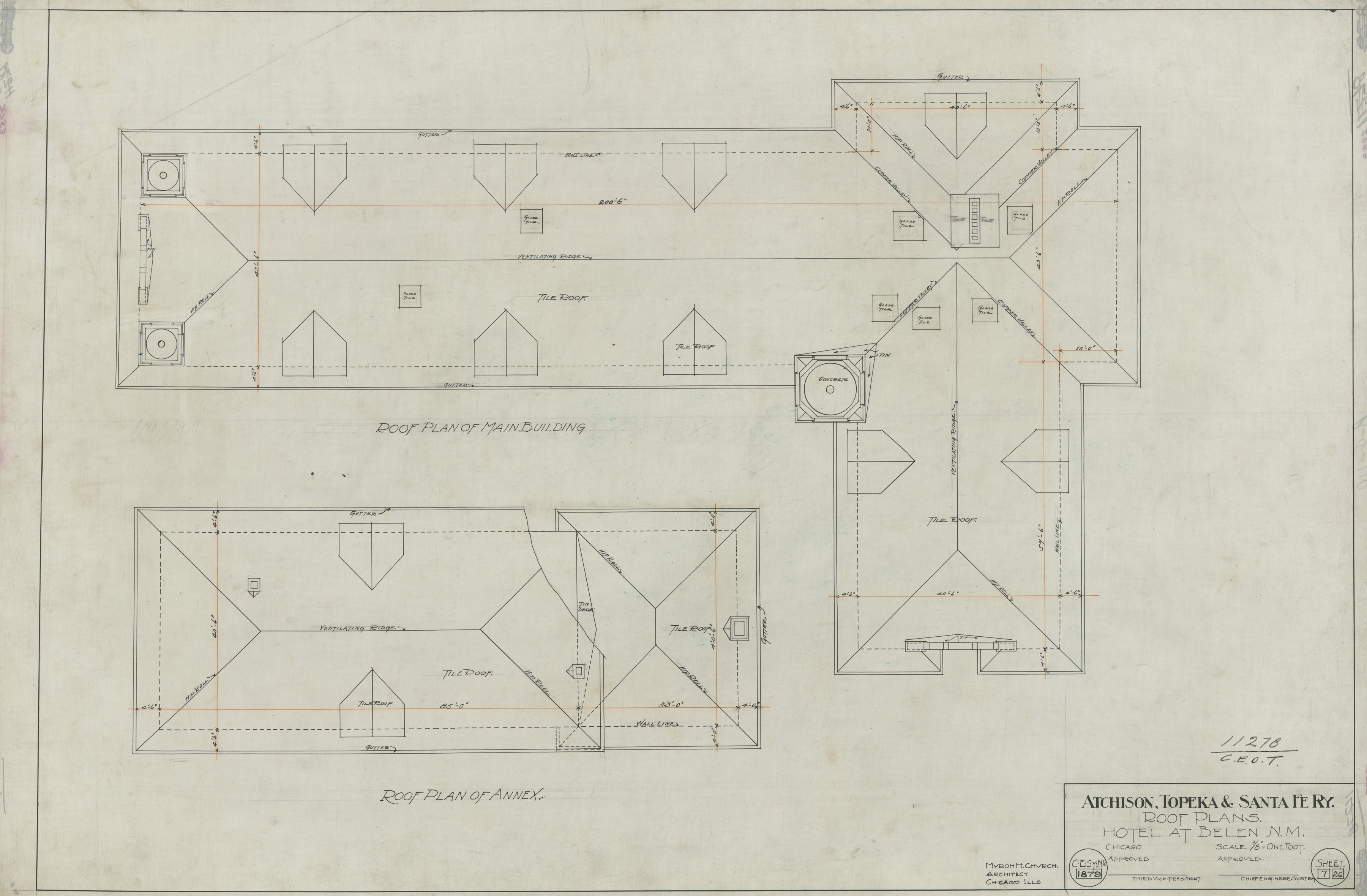 AT&SF Company hotel, Belen, New Mexico - Roof Plan of Annex, 1879