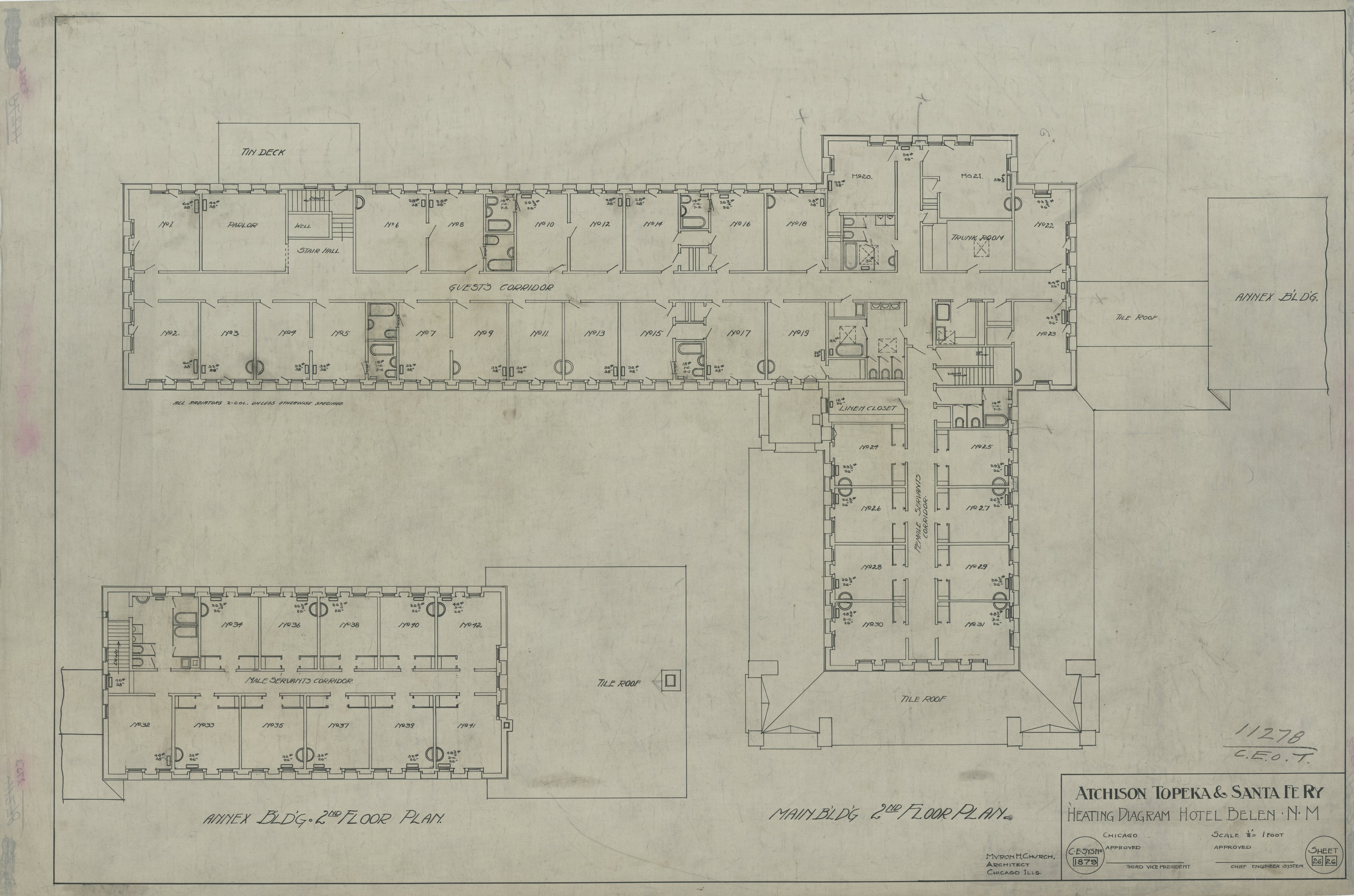 AT&SF Company hotel, Belen, New Mexico - Heating Diagram, 1879