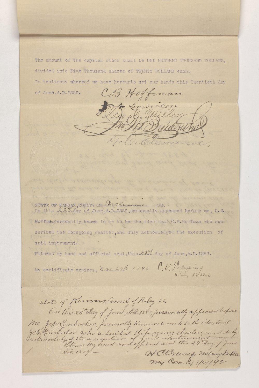 Charter of the Kansas Sinaloa Investment Company, Dickinson County, Kansas - 1