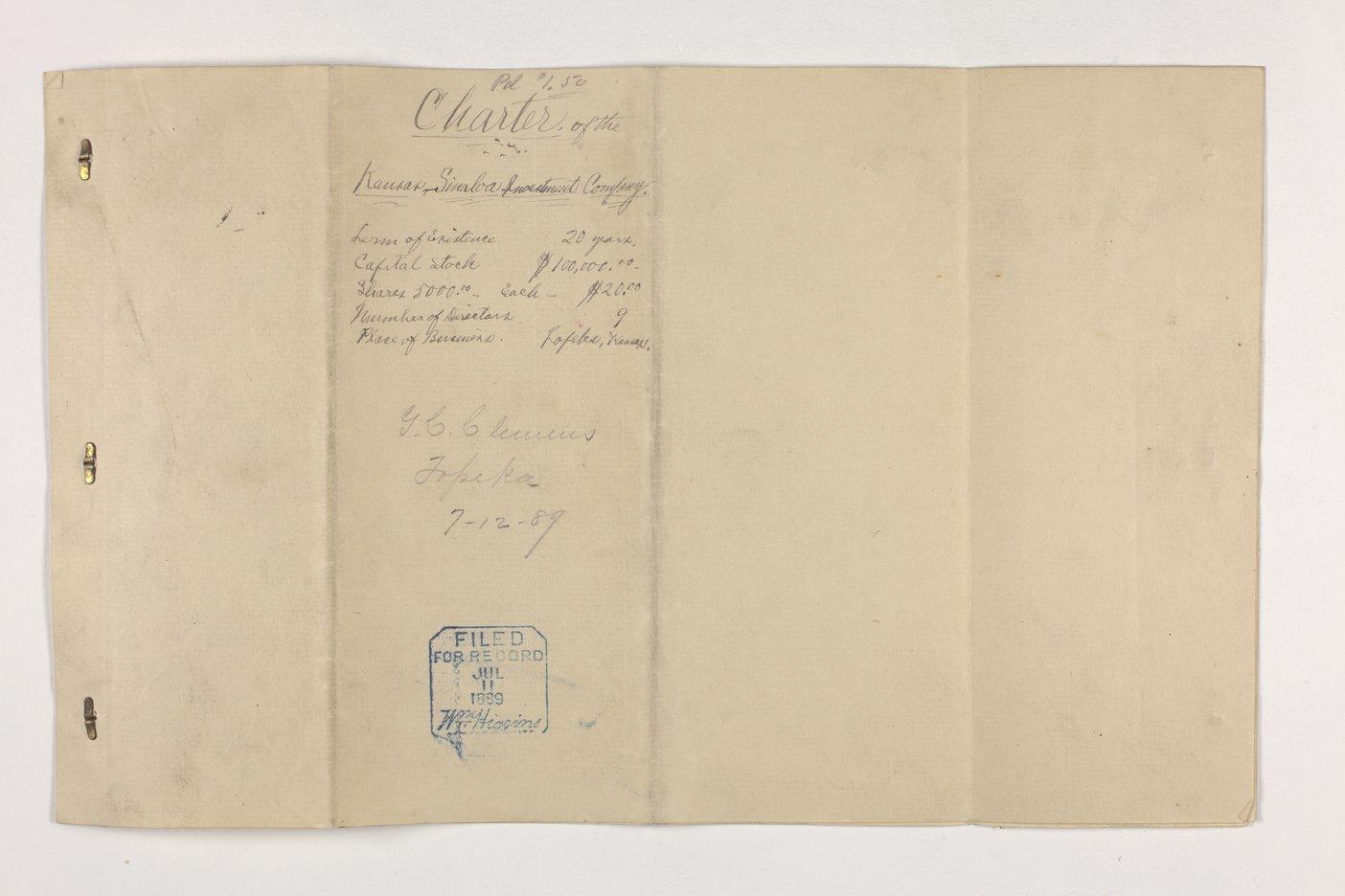 Charter of the Kansas Sinaloa Investment Company, Dickinson County, Kansas - Back cover