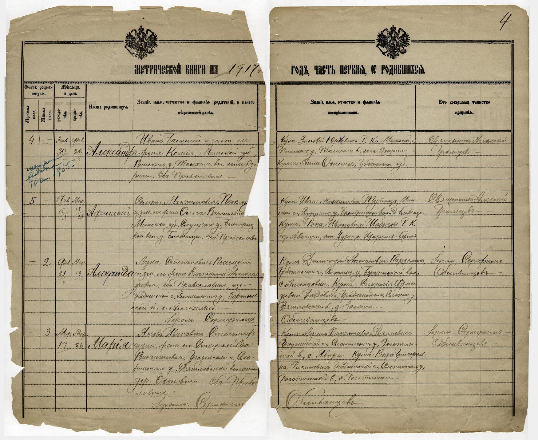 Birth, marriage and death register, Holy Trinity Russian Orthodox Church, Kansas City, Kansas - 1917 - 004 - Birth