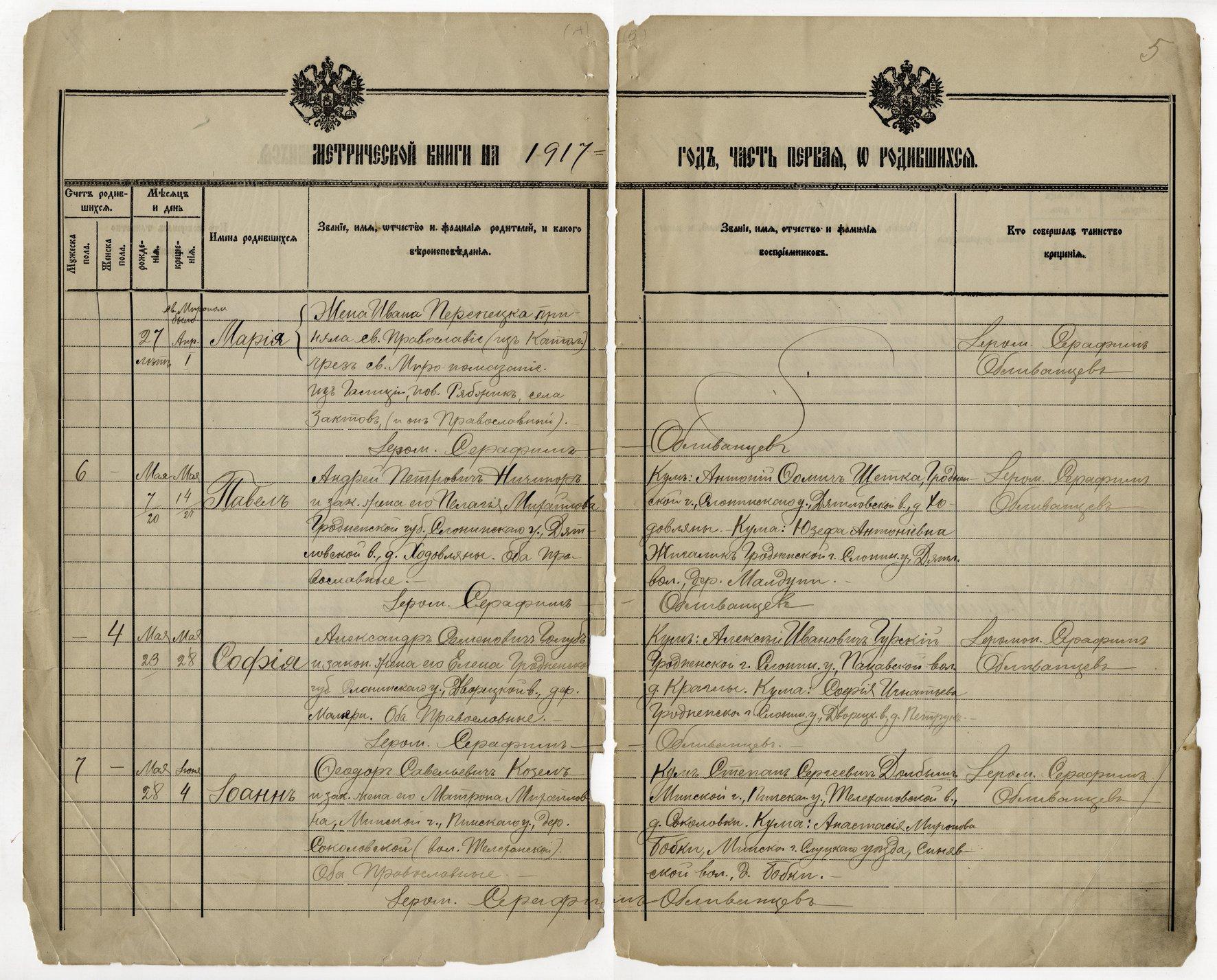 Birth, marriage and death register, Holy Trinity Russian Orthodox Church, Kansas City, Kansas - 1917 - 005 - Birth