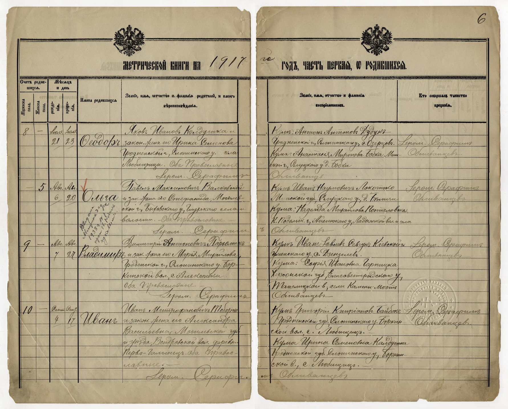 Birth, marriage and death register, Holy Trinity Russian Orthodox Church, Kansas City, Kansas - 1917 - 006 - Birth