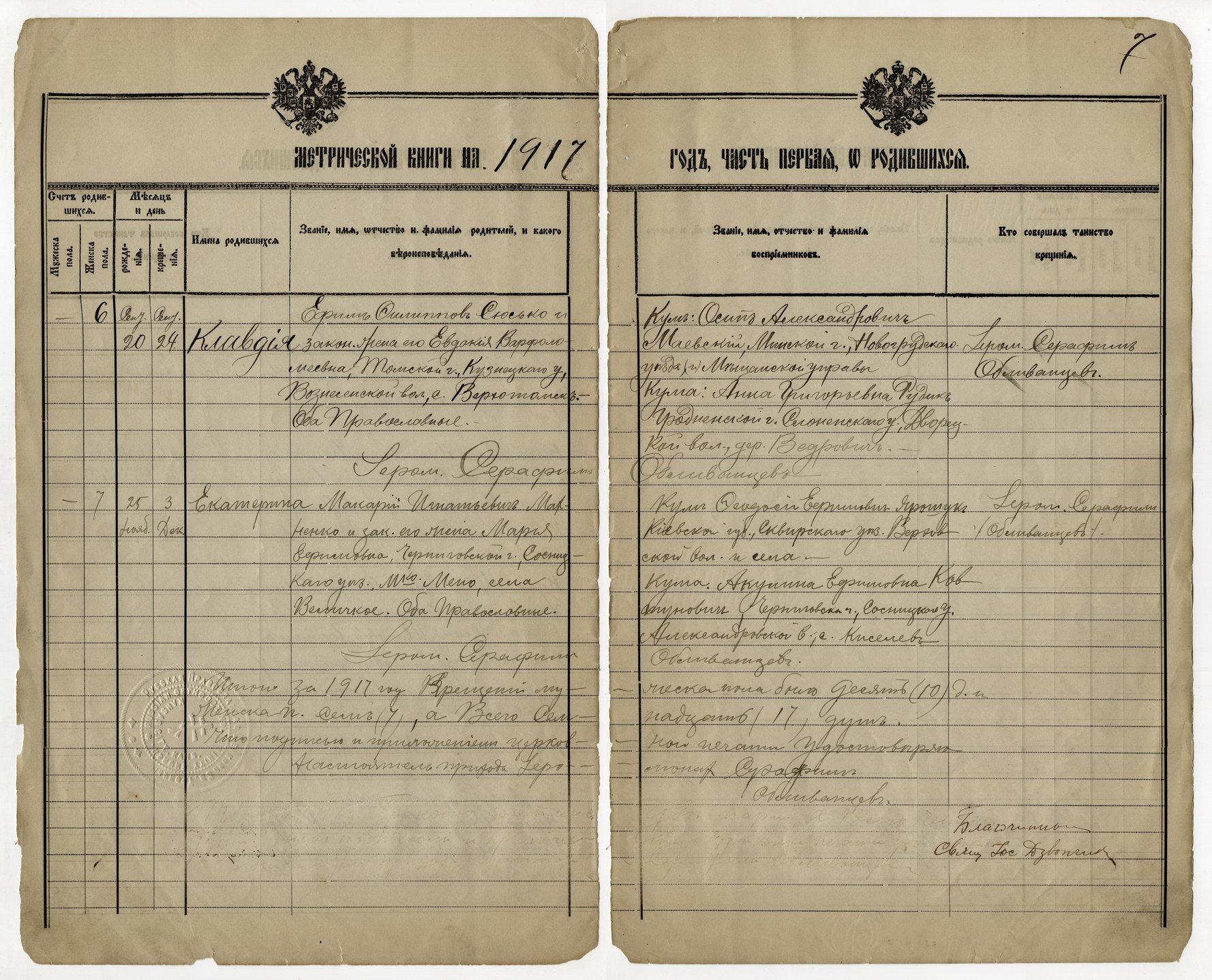 Birth, marriage and death register, Holy Trinity Russian Orthodox Church, Kansas City, Kansas - 1917 - 007 - Birth