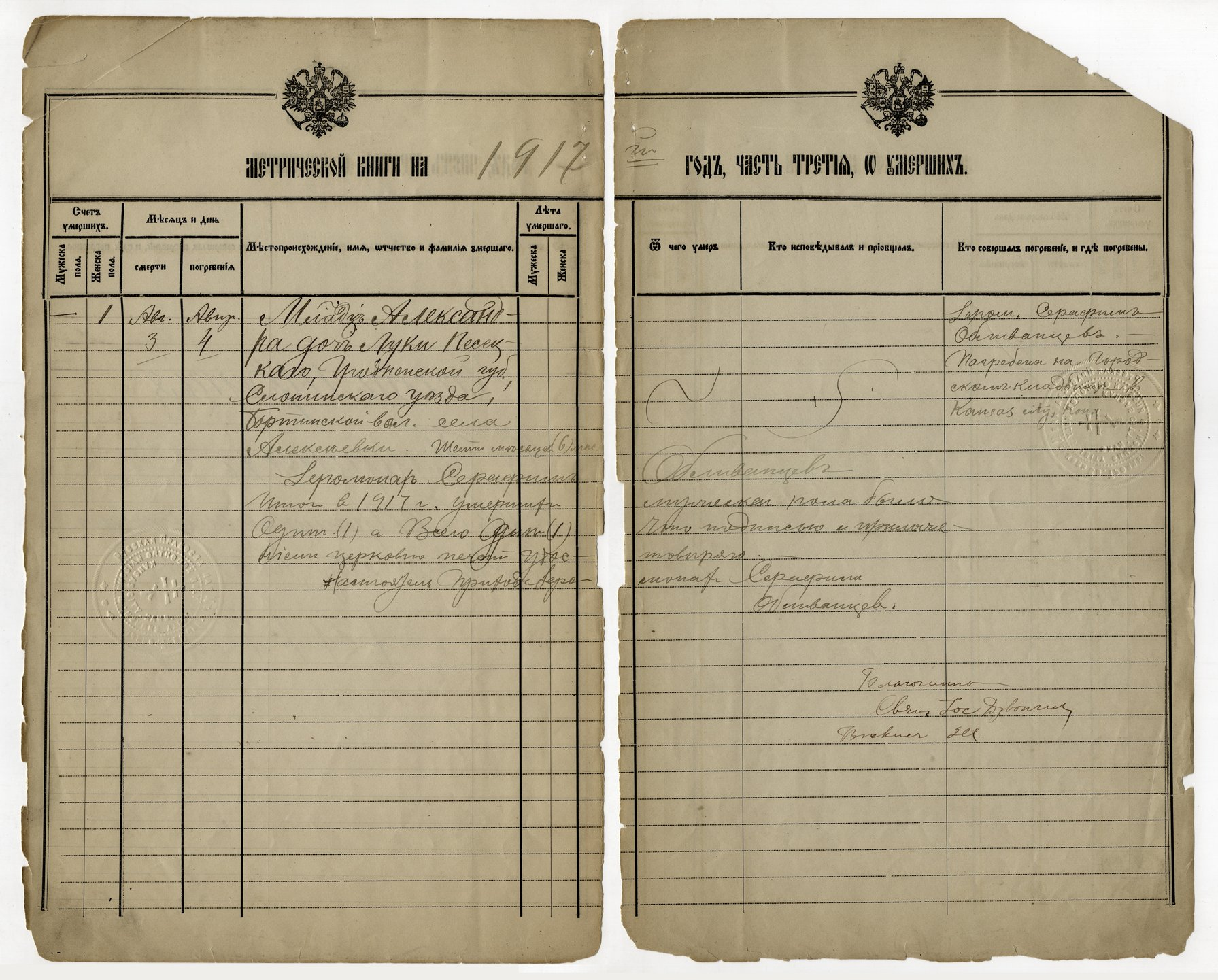 Birth, marriage and death register, Holy Trinity Russian Orthodox Church, Kansas City, Kansas - 1917 - 012 - Death