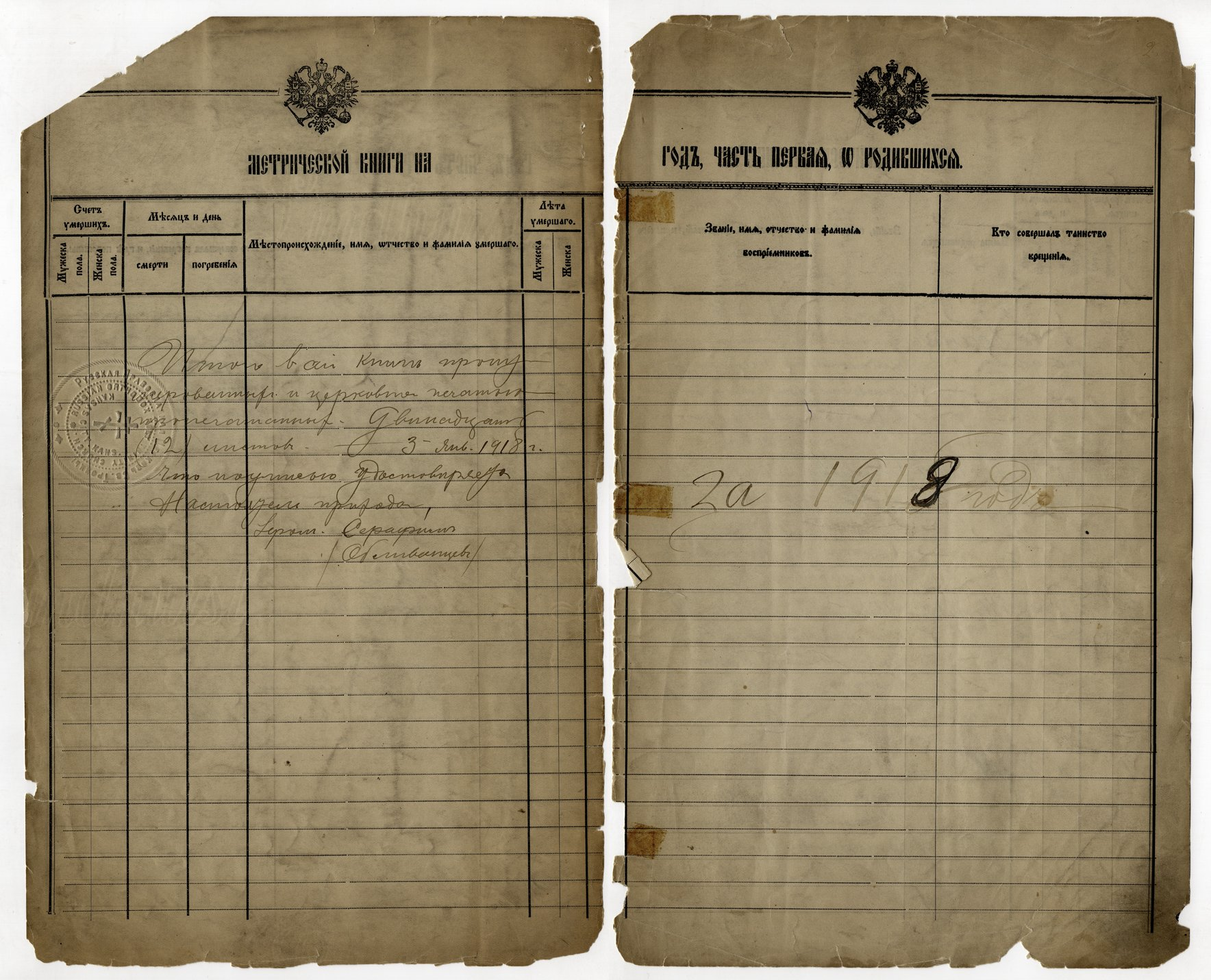Birth, marriage and death register, Holy Trinity Russian Orthodox Church, Kansas City, Kansas - 1918 - 002 - Birth
