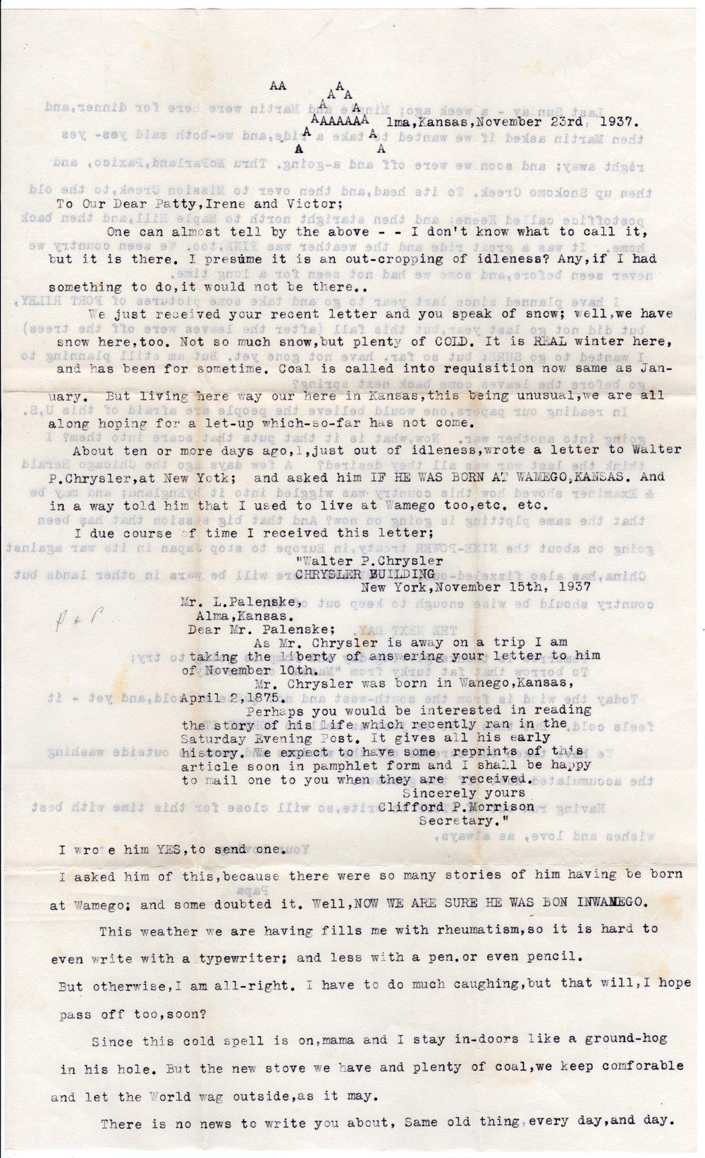 Letter from Louis Palenske to Victor Palenske - Kansas