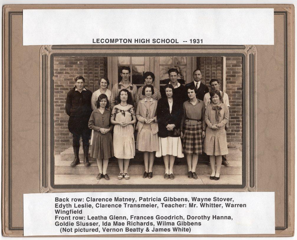 1931 Senior Class, Lecompton Rural High School, Lecompton, Kansas - front