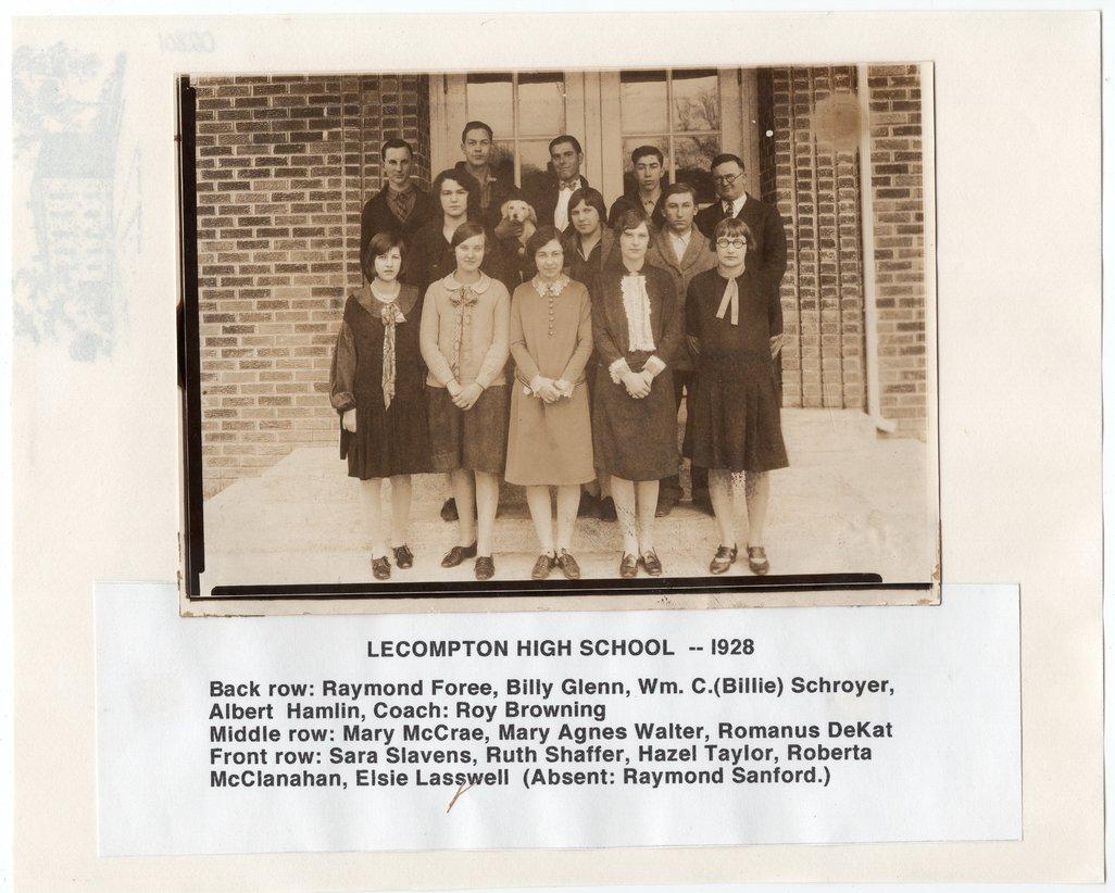 1928 Senior Class, Lecompton Rural High School, Lecompton, Kansas - front