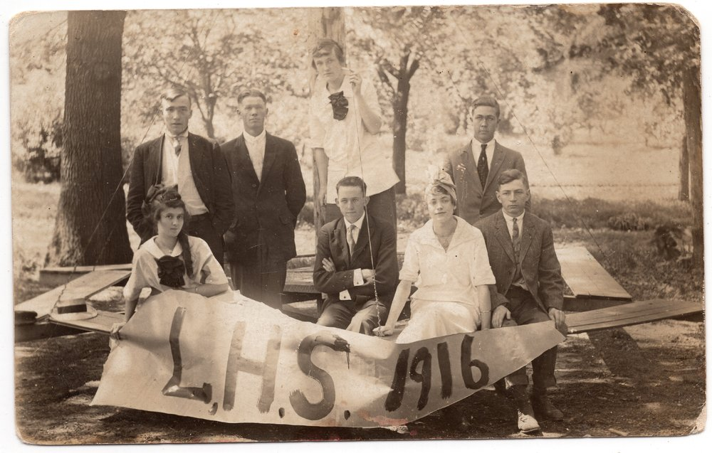 1916 Graduating Class of Lecompton High School, Lecompton, Kansas - front