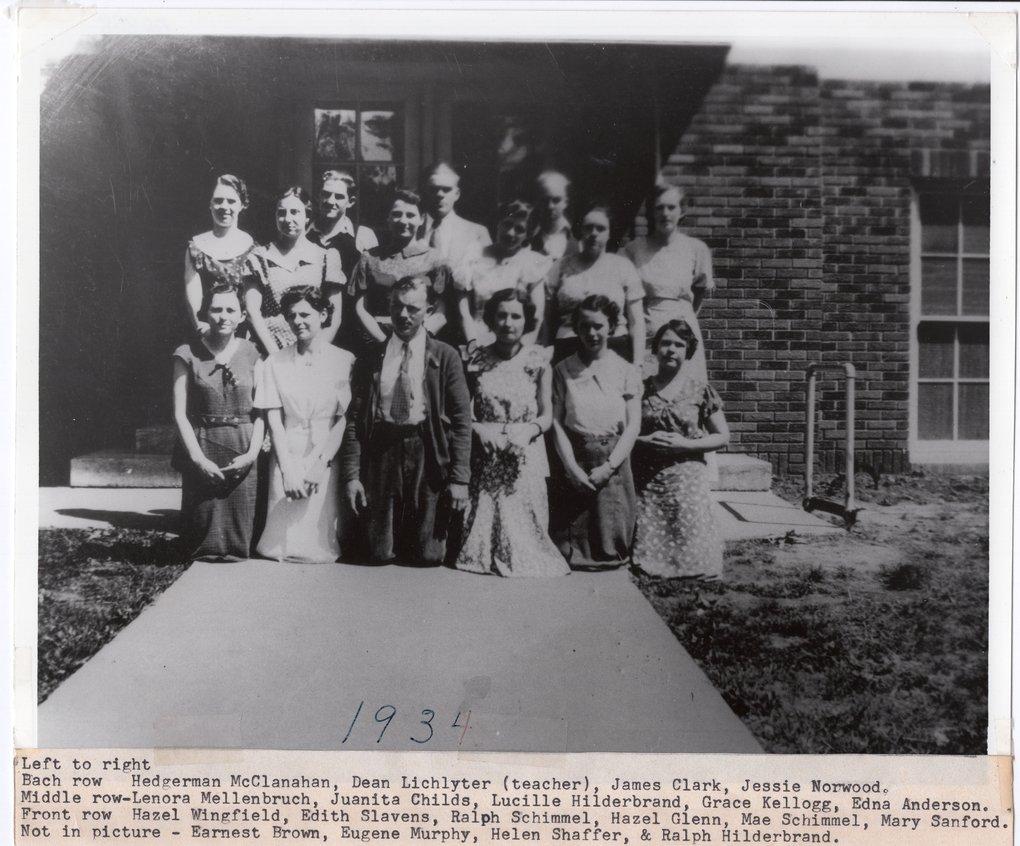 1934 Senior Class of Lecompton Rural High School, Lecompton, Kansas - front