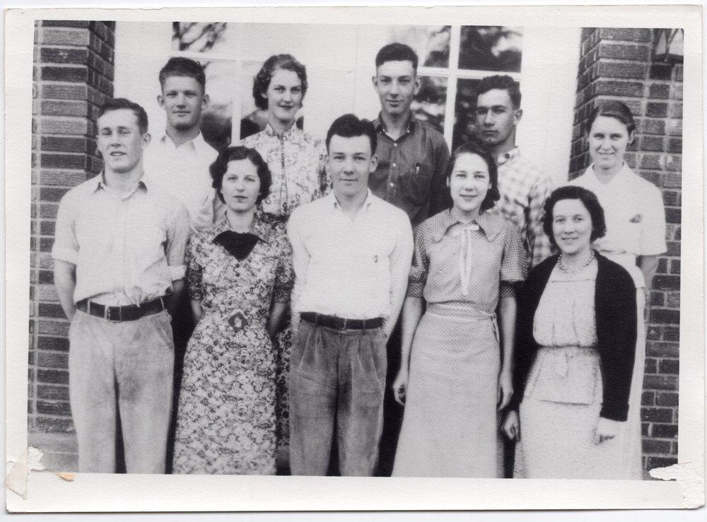 1938 Senior Class of Lecompton Rural High School, Lecompton, Kansas - front
