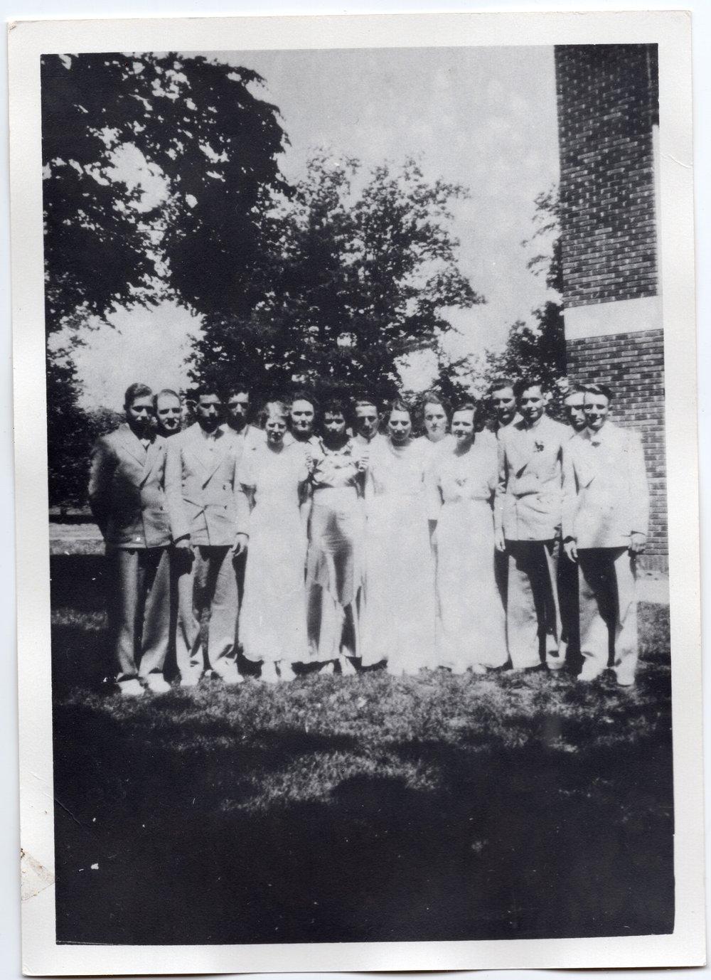 1936 Senior Class of Lecompton Rural High School, Lecompton, Kansas - front