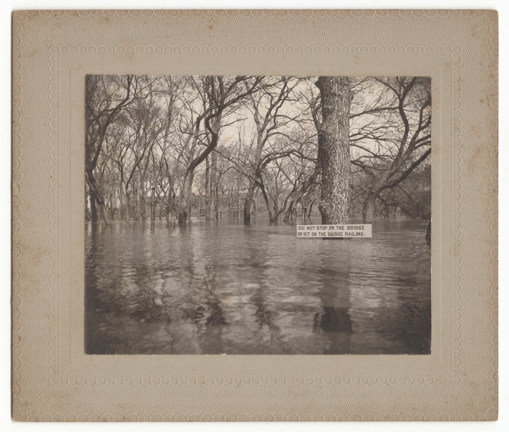 Foot bridge during Cottonwood River flood, Marion, Marion County, Kansas - 1