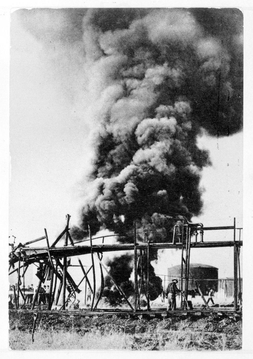 Oil field fire, Wilson County, Kansas