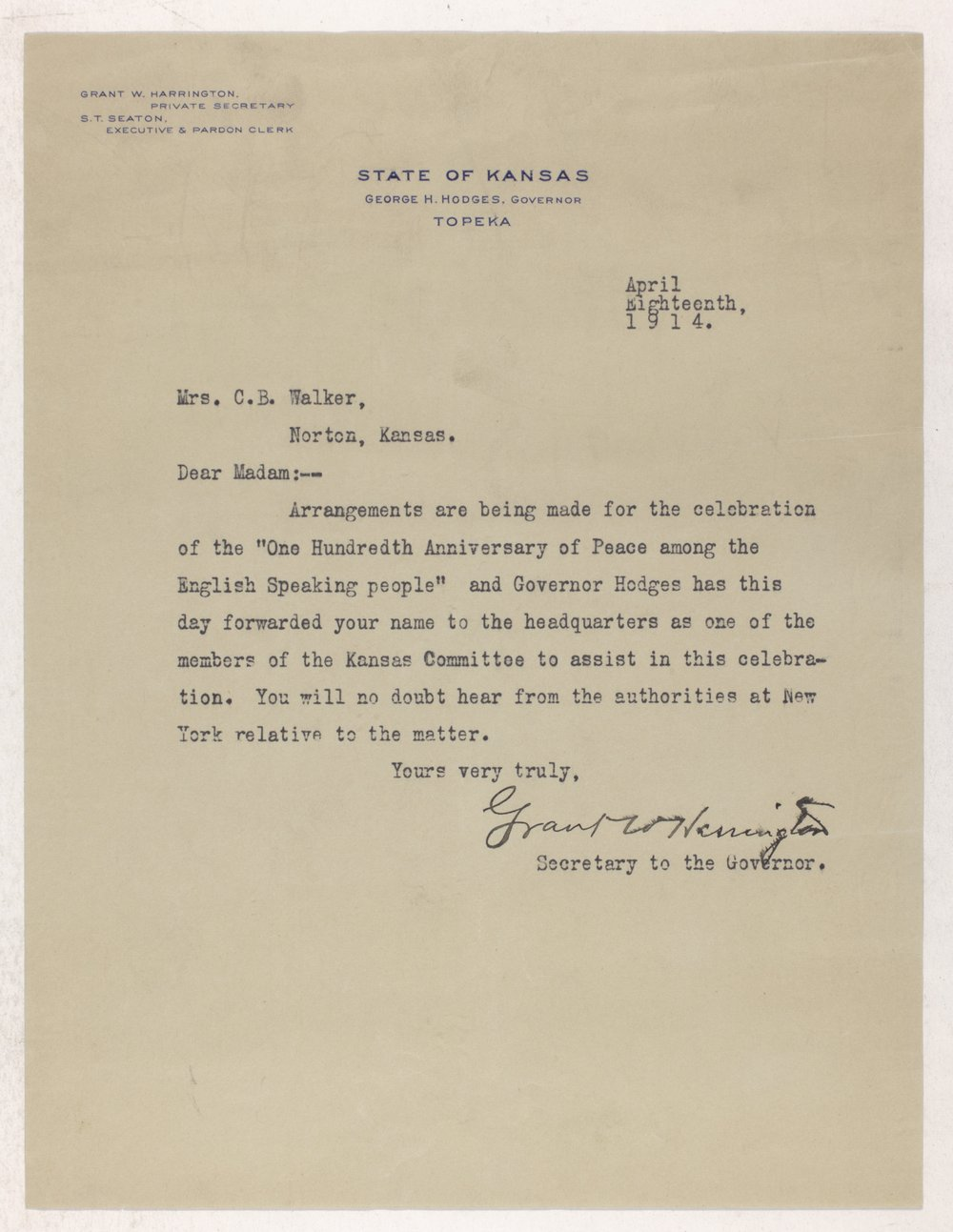 Ida M. Walker papers - 1 100th Anniversary of Peace, 1914