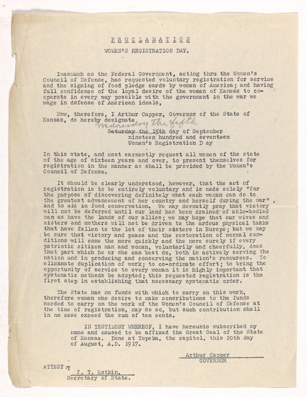 Ida M. Walker papers - 1 Women's Council of Defense, WW I, 1917-18