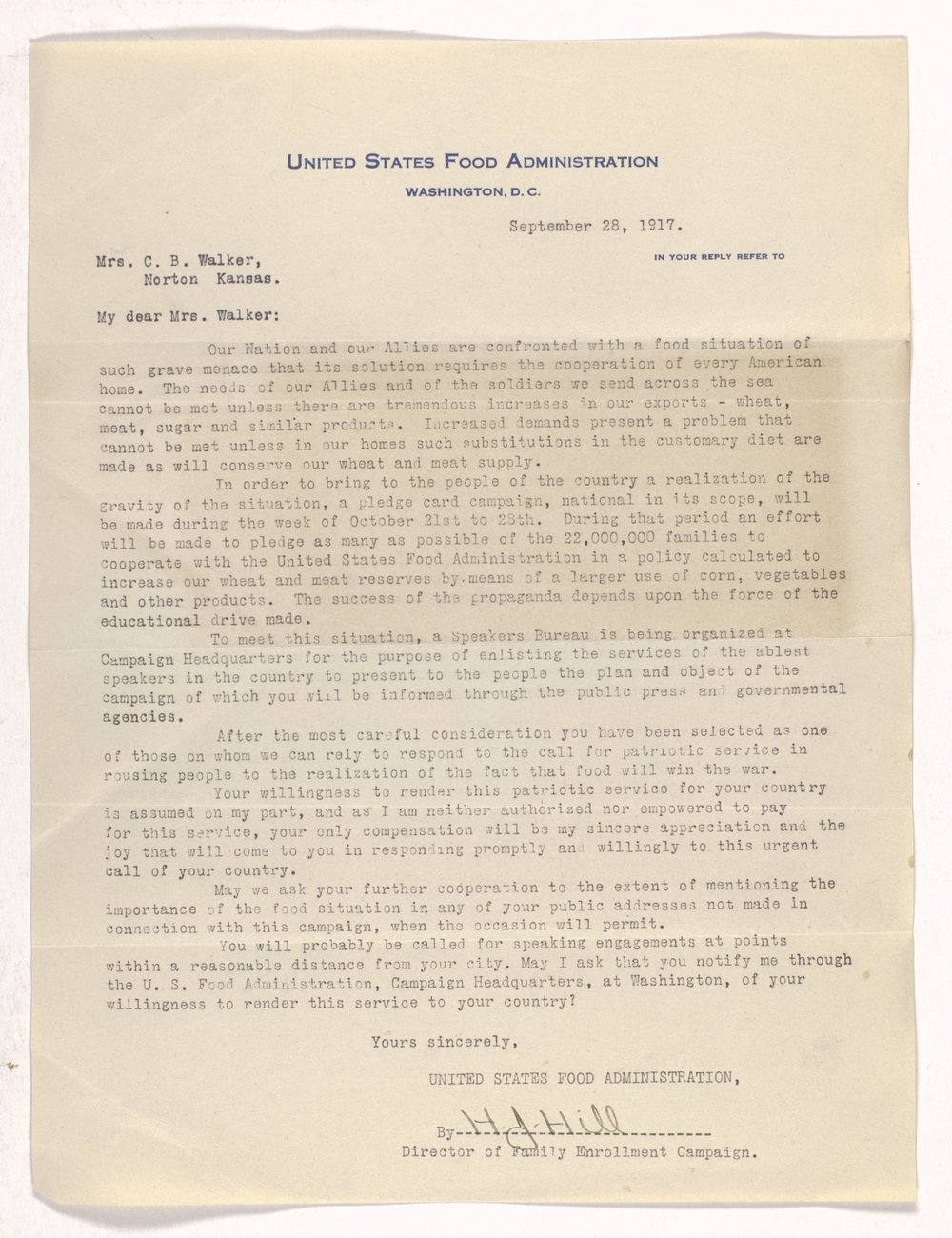 Ida M. Walker papers - 1 United States Food Administration, 1917