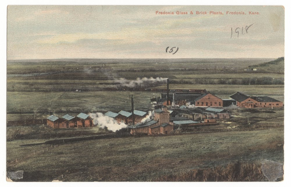 Birds-eye view of the glass and brick plants near West Mound, Fredonia, Wilson County, Kansas - 3
