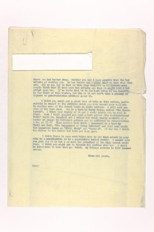 Dr. Karl Menninger Ladies Home Journal Letters 142-159 - 5