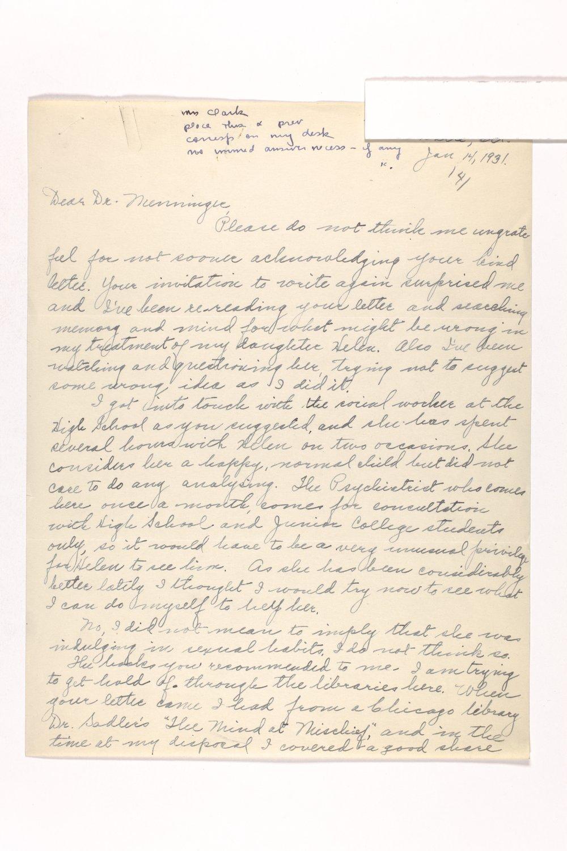 Dr. Karl Menninger Ladies Home Journal Letters 142-159 - 6
