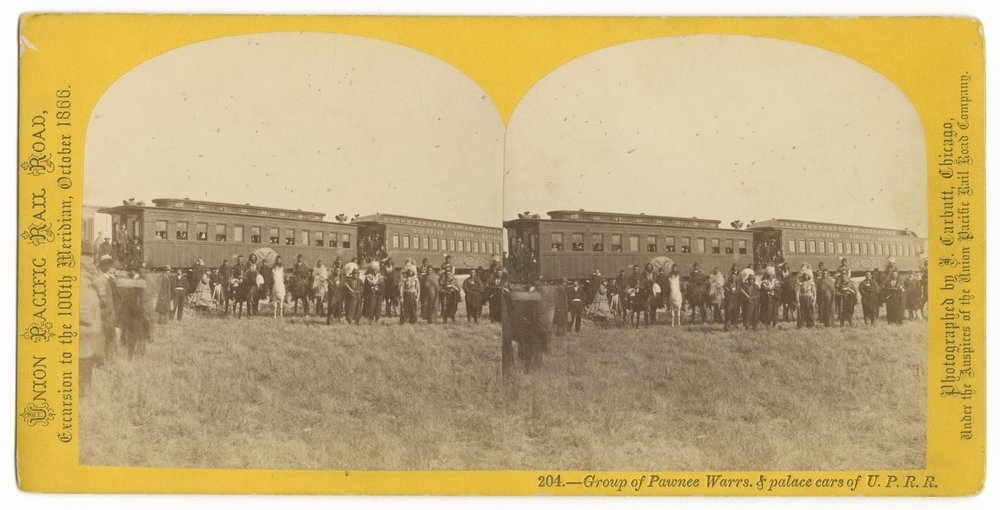Group of Pawnee warriors and palace cars on the Union Pacific Railroad - 1