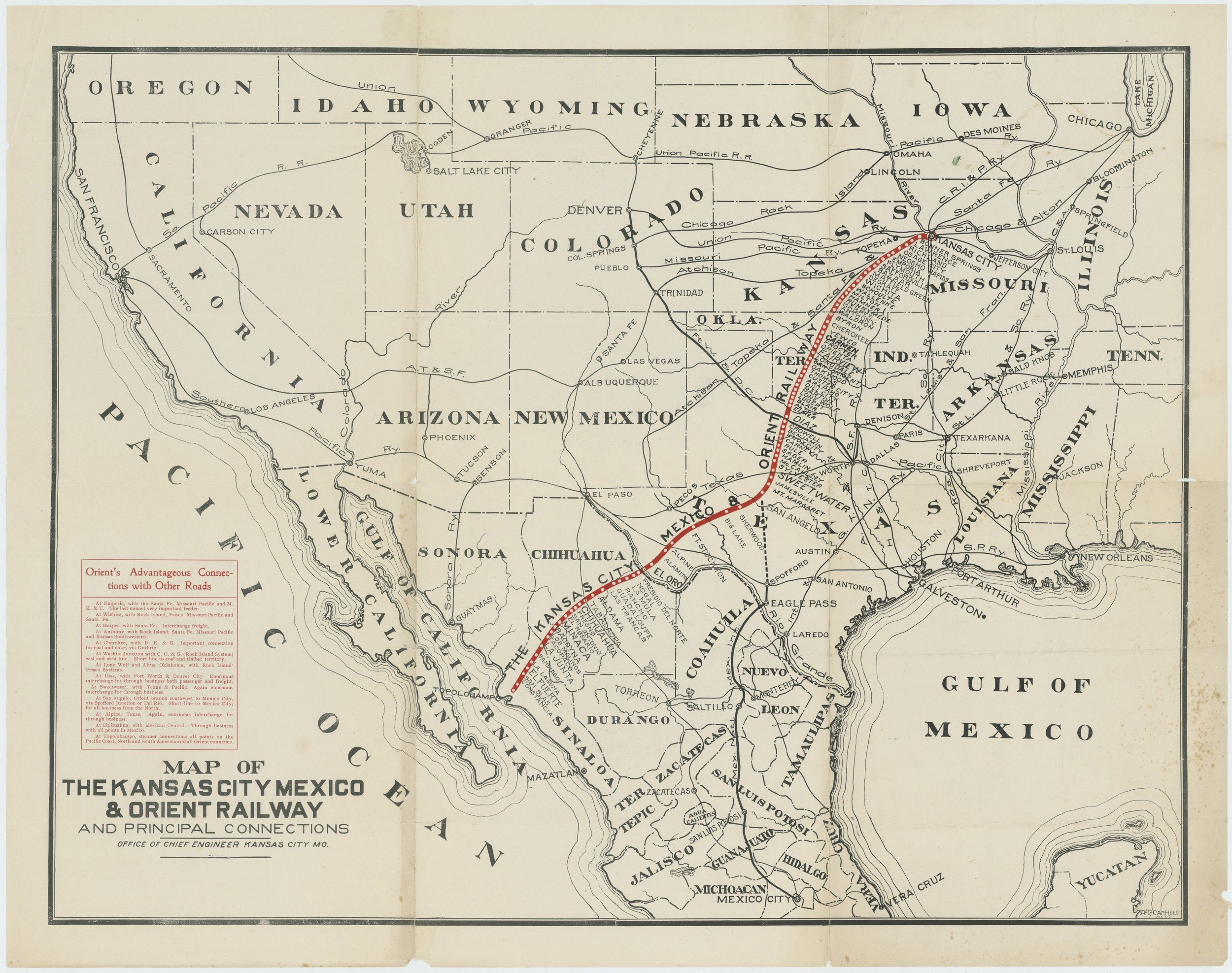 Map of the Kansas City, Mexico & Orient Railway and principal connections - 1