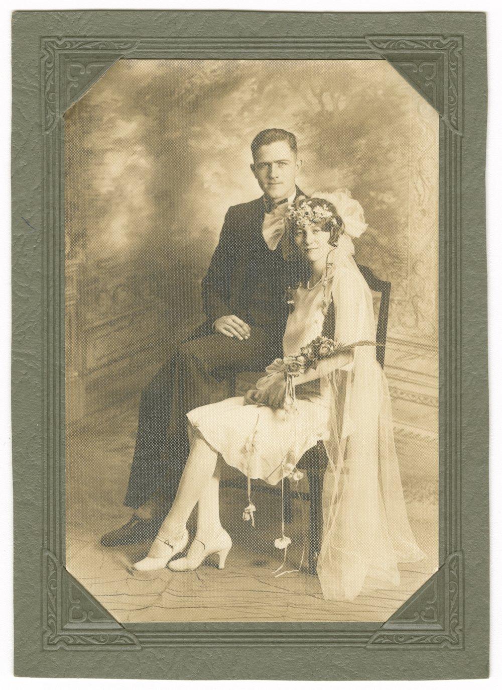 Clarence Gordon and Edna Staerkel Gordon on their wedding day in Topeka, Kansas - 1
