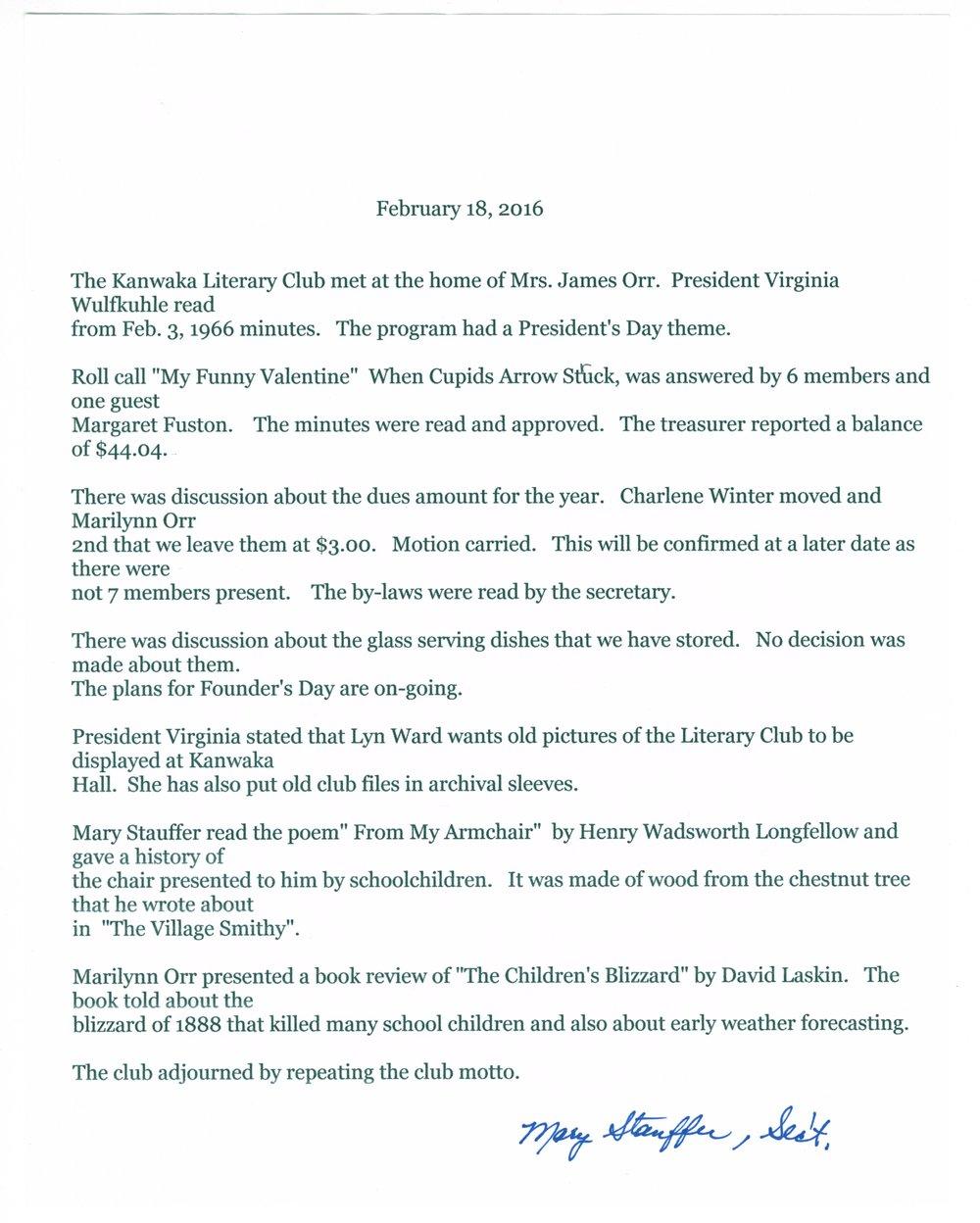 Kanwaka Literary Club records - February 18, 2016