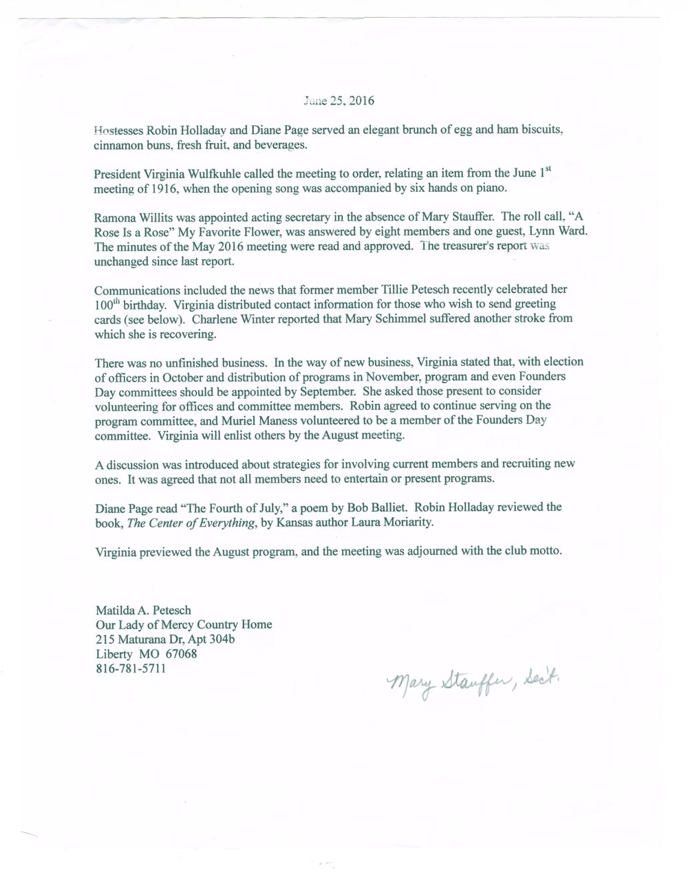 Kanwaka Literary Club records - June 25, 2016